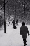 Winterspaziergang in einem schweren Fall des Schnees Lizenzfreies Stockfoto
