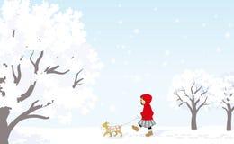Winterspaziergang, rotes Mantelmädchen mit Welpen Lizenzfreies Stockfoto