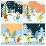 Winterspiele von Hasen Stockbild
