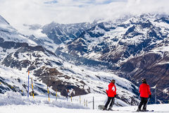 Wintersport in the Alps, Switzerland Royalty Free Stock Images