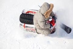 Wintersport: extremes Sleighing Lizenzfreie Stockfotos