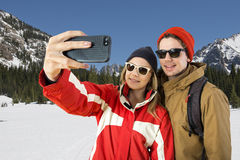 Wintersport Selfie Stock Afbeeldingen