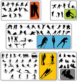 Wintersport silhouettes stock images