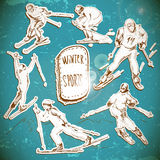 Wintersport, Skifahrer scetch Stockbild