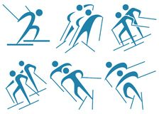 Wintersport - Skilanglaufikonen Lizenzfreies Stockfoto