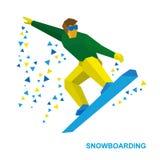 Wintersport - Snowboarding Karikatursnowboarder während eines Sprunges Stockfotos