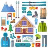 Wintersport Tätigkeit und Ausrüstungsikonensatz Skifahren, Snowboardingvektor lokalisiert Skiortelemente im flachen Design Stockfotos