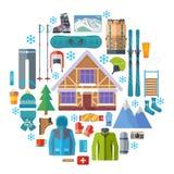 Wintersport Tätigkeit und runder Ikonensatz der Ausrüstung Skifahren, Snowboardingvektor lokalisiert Skiortelemente in der Ebene Lizenzfreie Stockfotos