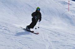 Wintersport: Telemark-Skifahren beim Jakobshorn in Davos, Schweizer Alpen stockbild