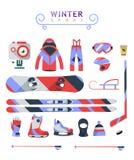 Wintersport wendet, Ausrüstungssammlung, Vektorikonen, flach ein Lizenzfreie Stockfotos