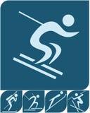 Wintersport - Winterikonen eingestellt Stockbilder