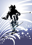 Wintersporten #2: Bergaf skiånd stock foto
