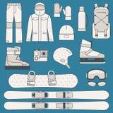Wintersporten en activiteitenpictogramreeks Stock Afbeelding