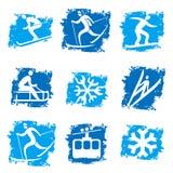 Wintersporten grunge pictogrammen Stock Foto
