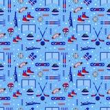Wintersporten herhaalde achtergrond Sportief materiaal vector naadloos patroon Ijshockey, het schaatsen, het ski?en, het snowboar stock illustratie