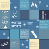 Wintersporten infographic vectorelementen Stock Fotografie
