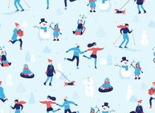 Wintersporten in openlucht naadloos patroon Mensen die pret en de winteractiviteiten in het park hebben, het ski?en, het schaatse stock illustratie