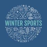 Wintersportenbanner, materiaalhuur bij skitoevlucht Vectorlijnpictogram van vleten, hockeystokken, sleeën, snowboard, sneeuw Stock Fotografie