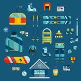 Wintersportenuitrusting De vlakke pictogrammen van de de winteractiviteit Stock Fotografie