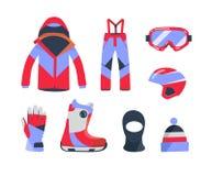 Wintersportenvoorwerpen, materiaalinzameling, vectorpictogrammen, vlakke stijl Royalty-vrije Stock Afbeelding