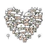 Winterstadt der Liebe, Herzformskizze für Ihr Lizenzfreie Stockfotografie