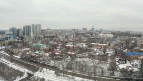 Winterstadtbild des Stadtzentrums in Dnipro-Stadt stock video