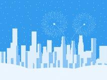 Winterstadtbild, städtische Stadt mit Wolkenkratzern Fallender Schnee Festliche Feuerwerke für das neue Jahr Vektor Lizenzfreie Stockbilder