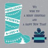 Winterstiefel mit Weihnachten verziert Vektor Lizenzfreie Stockfotografie