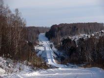 Winterstraße durch den Wald Lizenzfreie Stockbilder