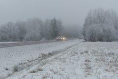 Winterstraße mit schlechter Sicht in Schweden lizenzfreies stockfoto