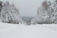 Winterstraße mit Schneeweißstraße stockbild