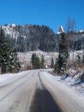 Winterstraße zu hohem Tatras von Strba lizenzfreie stockfotografie