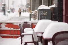 Wintersturm schlägt Toronto Stockbild