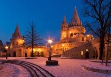 Winterszene der Bastion des Fischers, Budapest Lizenzfreie Stockfotos