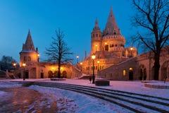 Winterszene der Bastion des Fischers, Budapest Lizenzfreies Stockfoto