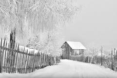 Winterszene in der Karpatenberg-, Fern- und rauenumwelt Lizenzfreie Stockfotografie