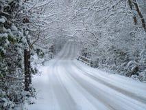 Winterszene des Schnees bedeckte Straße und Bäume Stockfotos