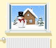 Winterszene durch geöffnetes Fenster Stockbild