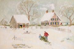 Winterszene eines Bauernhofes mit Leuten Stockfoto