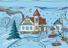 Winterszene im Dorf Bunte Zeichnung des Hauses im schneebedeckten Garten nachts lizenzfreie abbildung