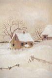 Winterszene mit Bauernhaus Stockbild