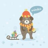 Winterszene mit einem Karikaturhund Lizenzfreie Stockfotografie