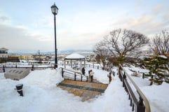 Winterszene an Motomachi-Park, Berg Hakodate, Hokkaido, Japan Lizenzfreie Stockfotos