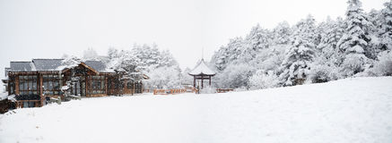 Winterszene an mt. emei Stockbilder