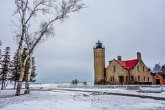 Winterszenen nähern sich mackinac Brücke und mackinsw Stadt Michigan stockfoto