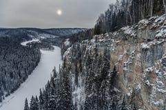 Wintertag auf dem Pfosten Stockfotografie