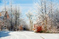 Wintertag im Dorf Stockfotos