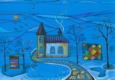 Wintertag im Dorf Bunte Zeichnung des Landhauses im schneebedeckten Garten stock abbildung