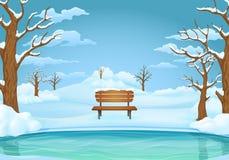 Wintertageshintergrund Gefrorener See oder Fluss mit Schnee bedeckten Holzbank, bloße Bäume Snowy-Wiesen und -hügel im Hintergrun