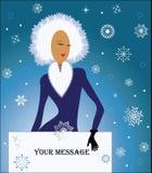 Winterthema-Schneekönigin mit Zeichen für Ihren Input Stockbild